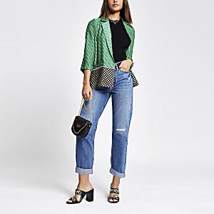 Groene zachte blazer met geometrische print