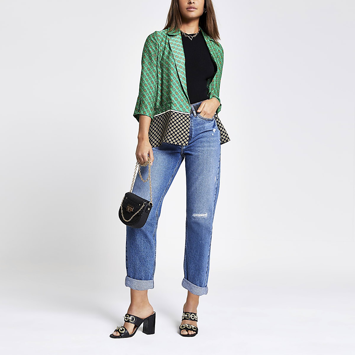 Green geo print soft blazer
