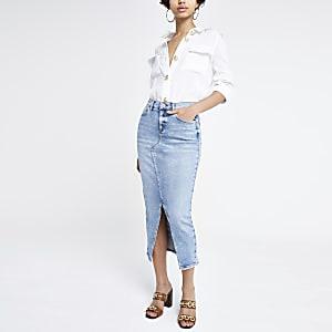 Blauer, langer Jeans-Bleistiftrock