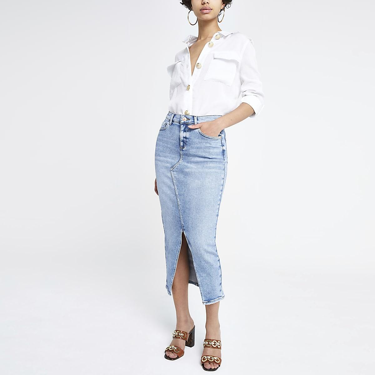Blue long denim pencil skirt