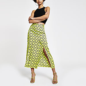 Green chain print midi skirt