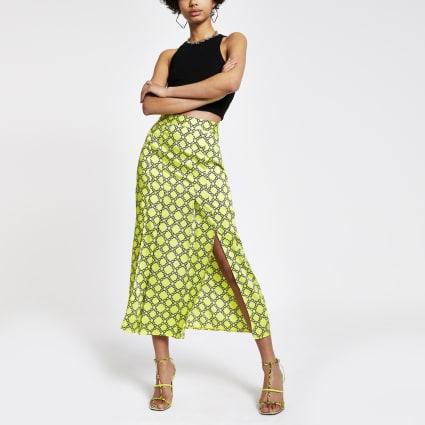 Green chain print midi skirt