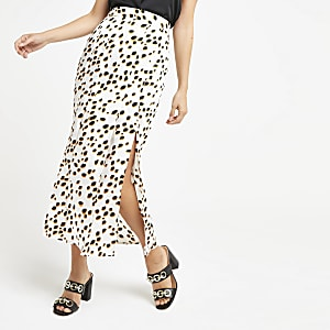 White print satin side split midi skirt