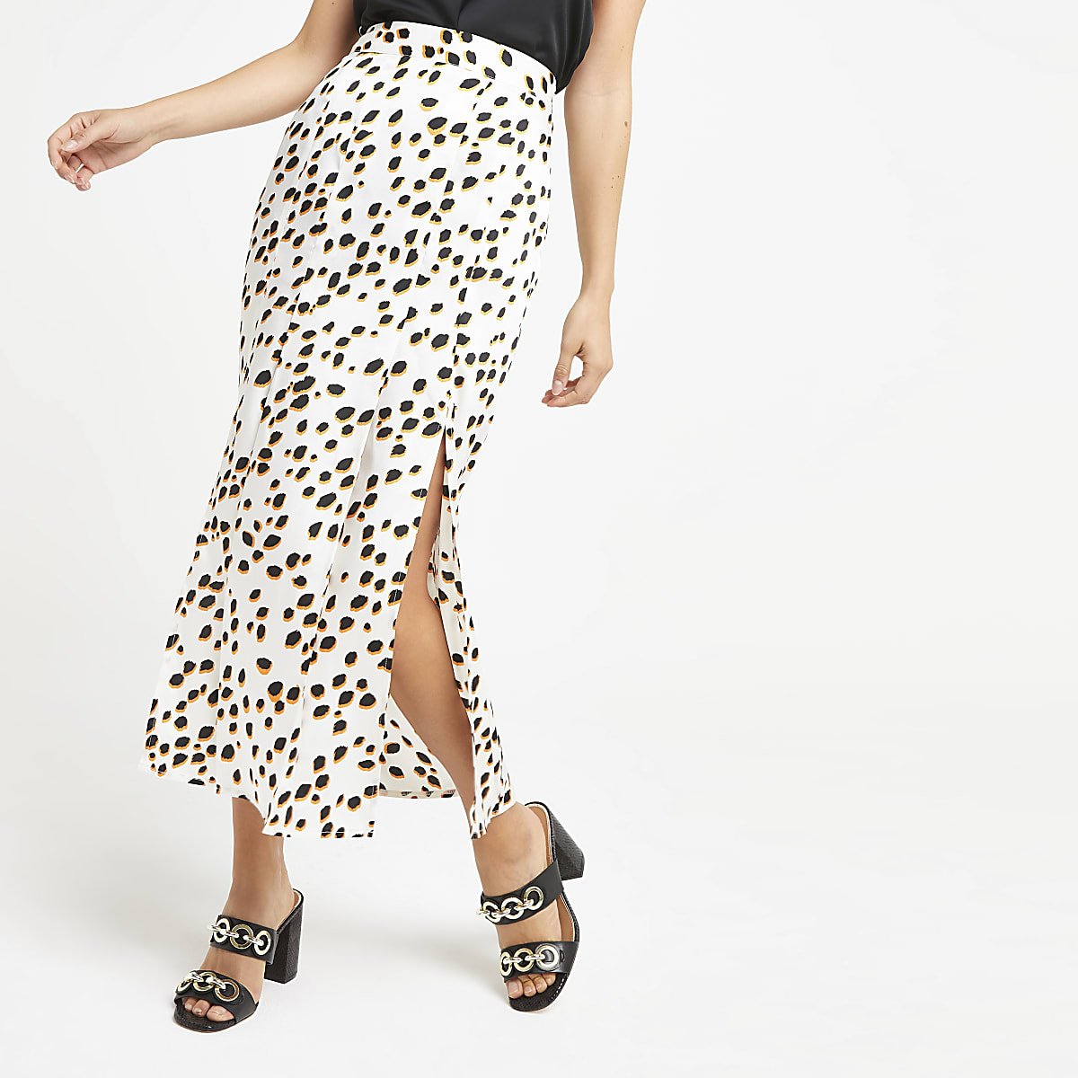 White print satin side split midi skirt