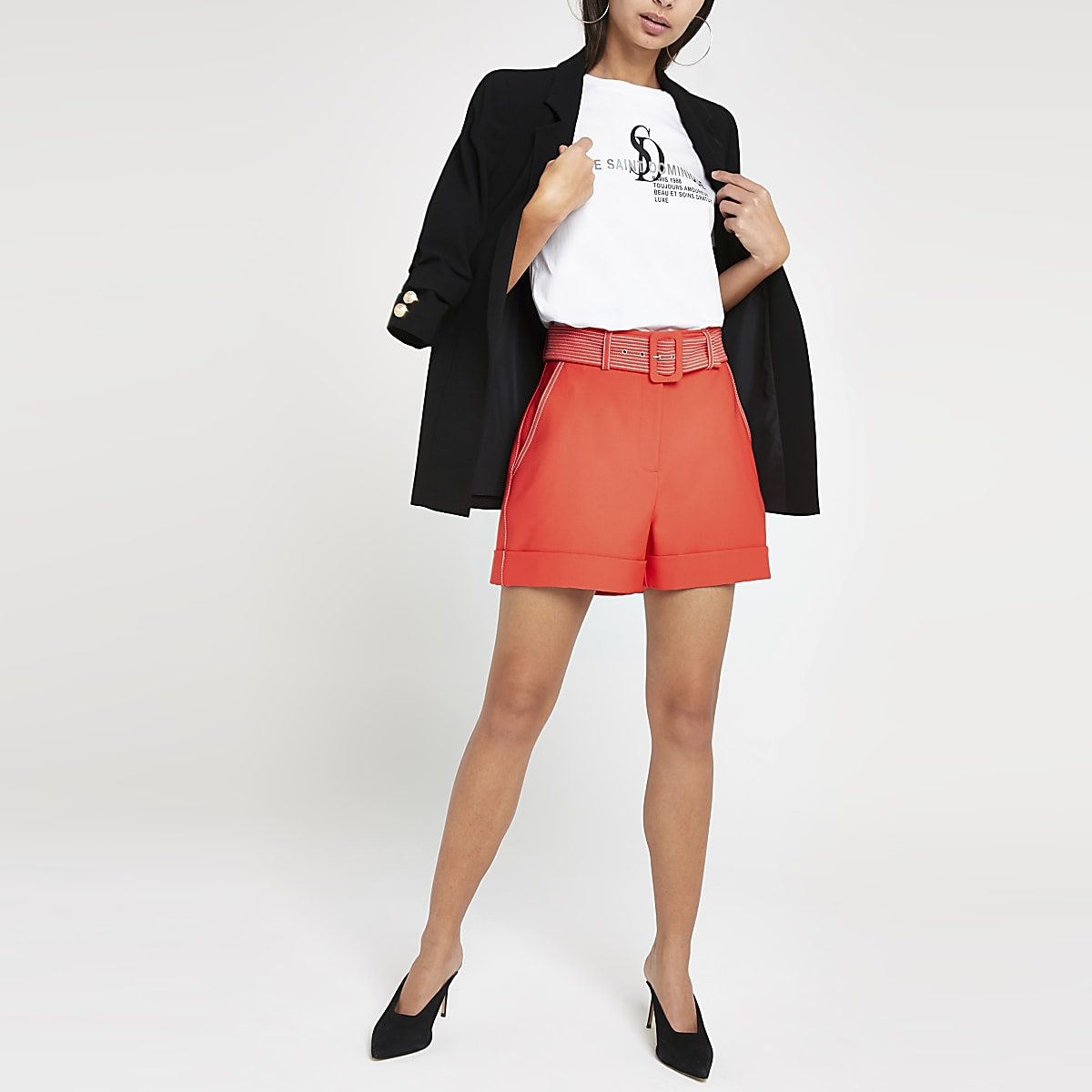 Coral belted shorts