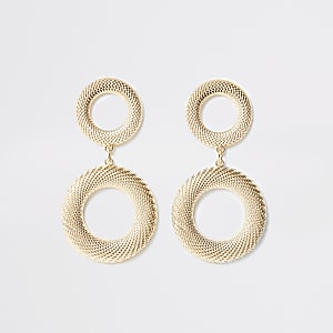 Gold color textured drop earrings