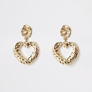 Gold colour heart drop earrings
