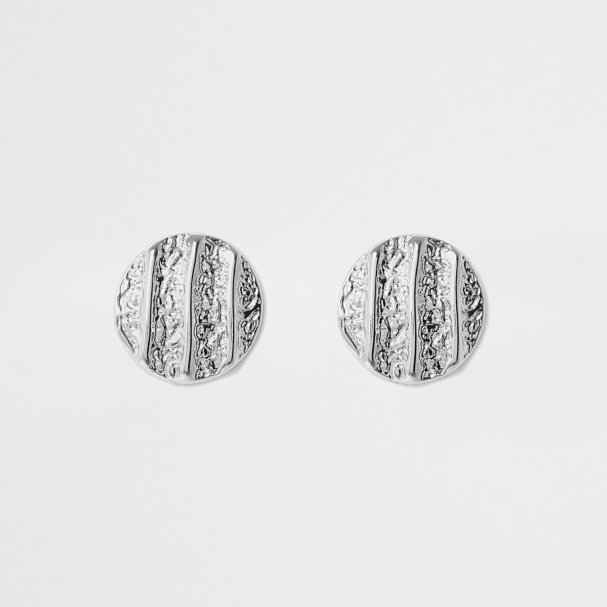Silver colour textured stud earrings