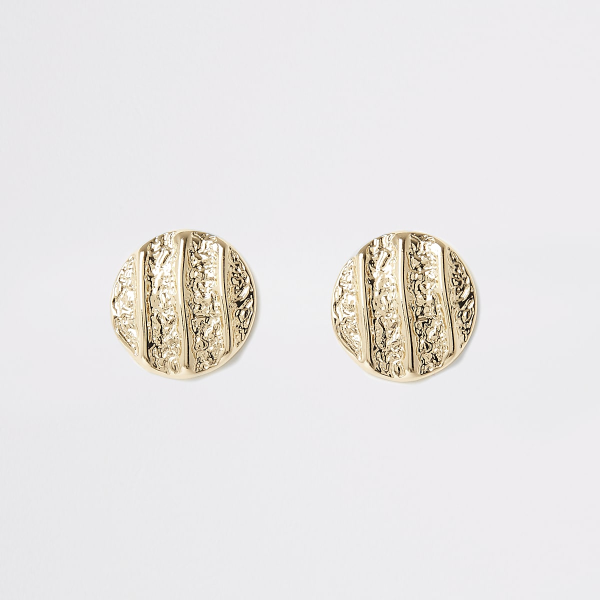 Gold colour textured stud earrings