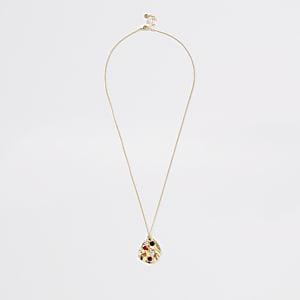 Gold color stone pendant necklace