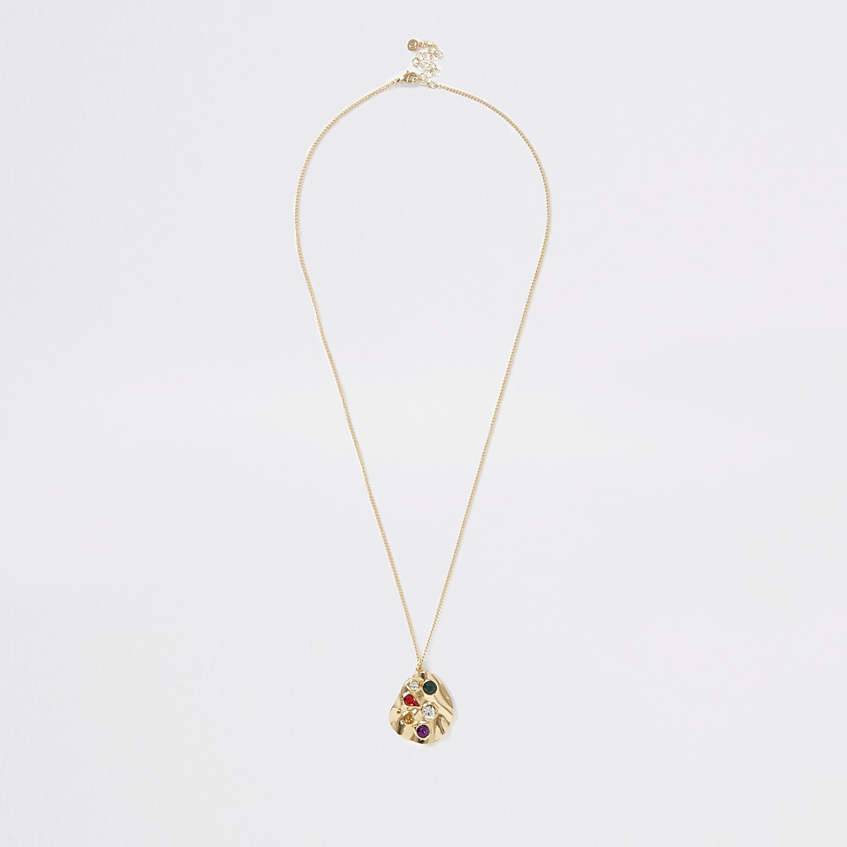 Gold colour stone pendant necklace