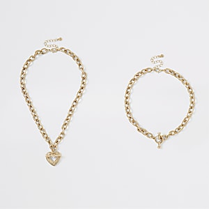 Gold colour chunky layered heart necklace