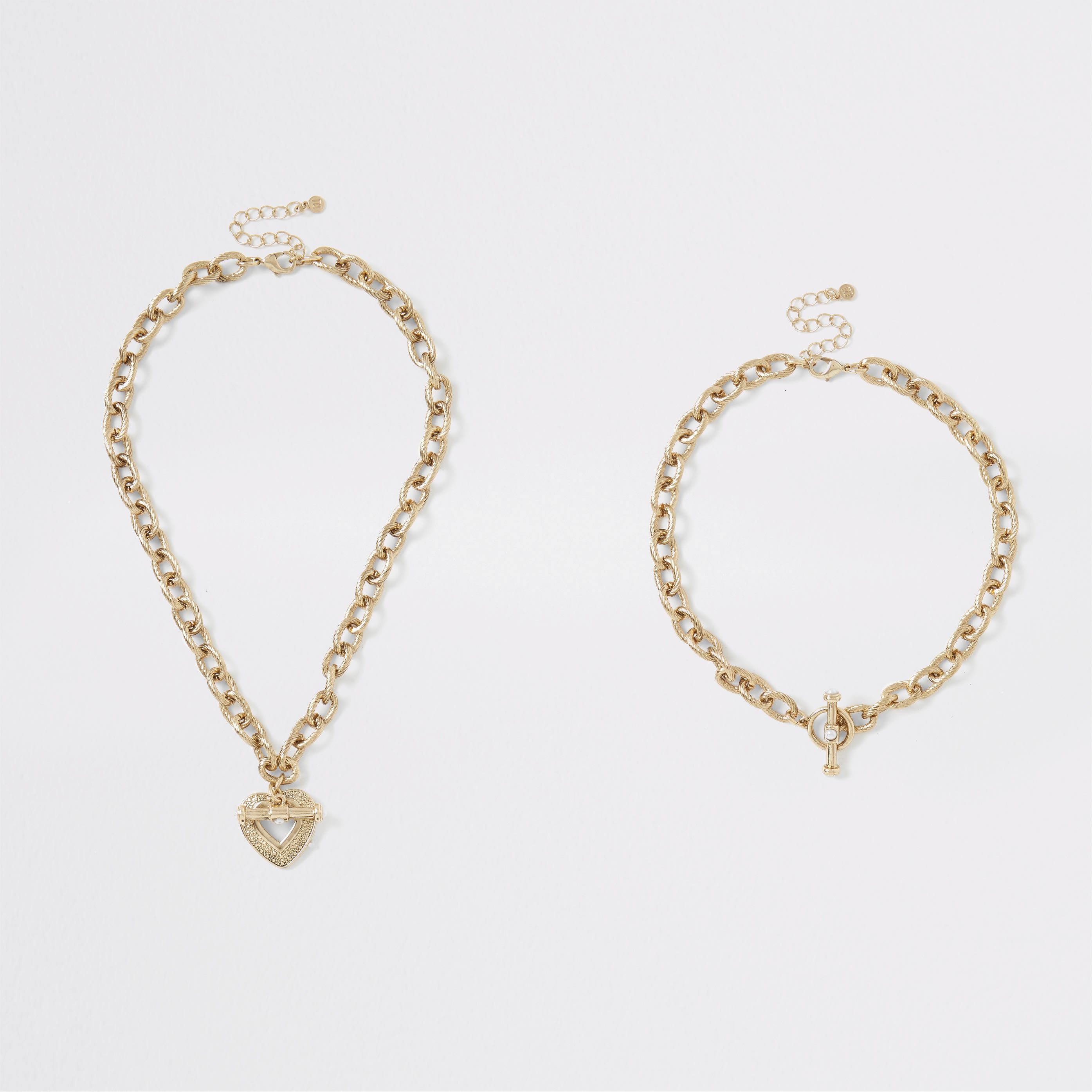 RIVER ISLAND | Womens Gold Colour Chunky Layered Heart Necklace | Goxip