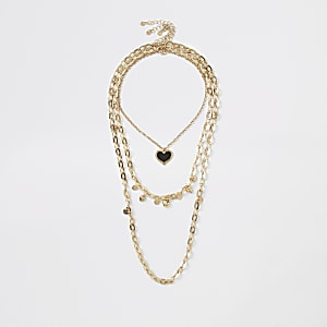 Gold color heart layered necklace