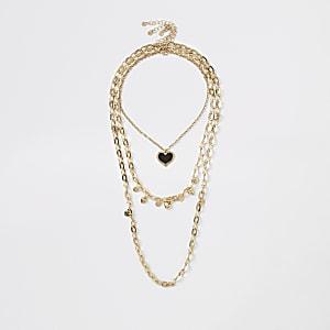 Collier multirang doré à pendentif cœur