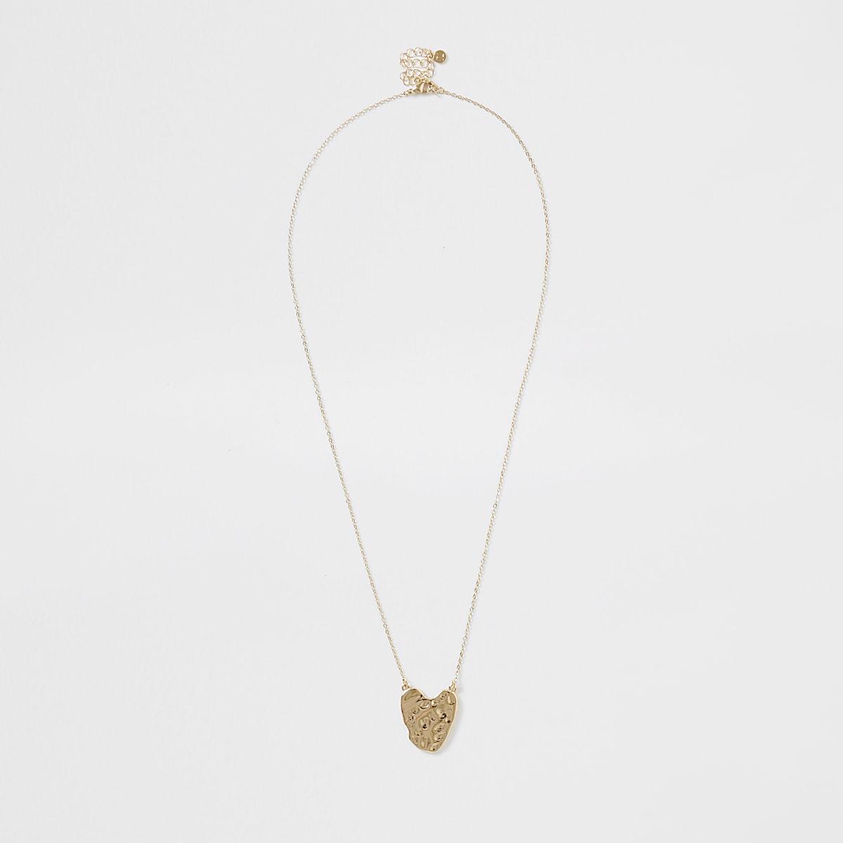 Gold color battered heart necklace