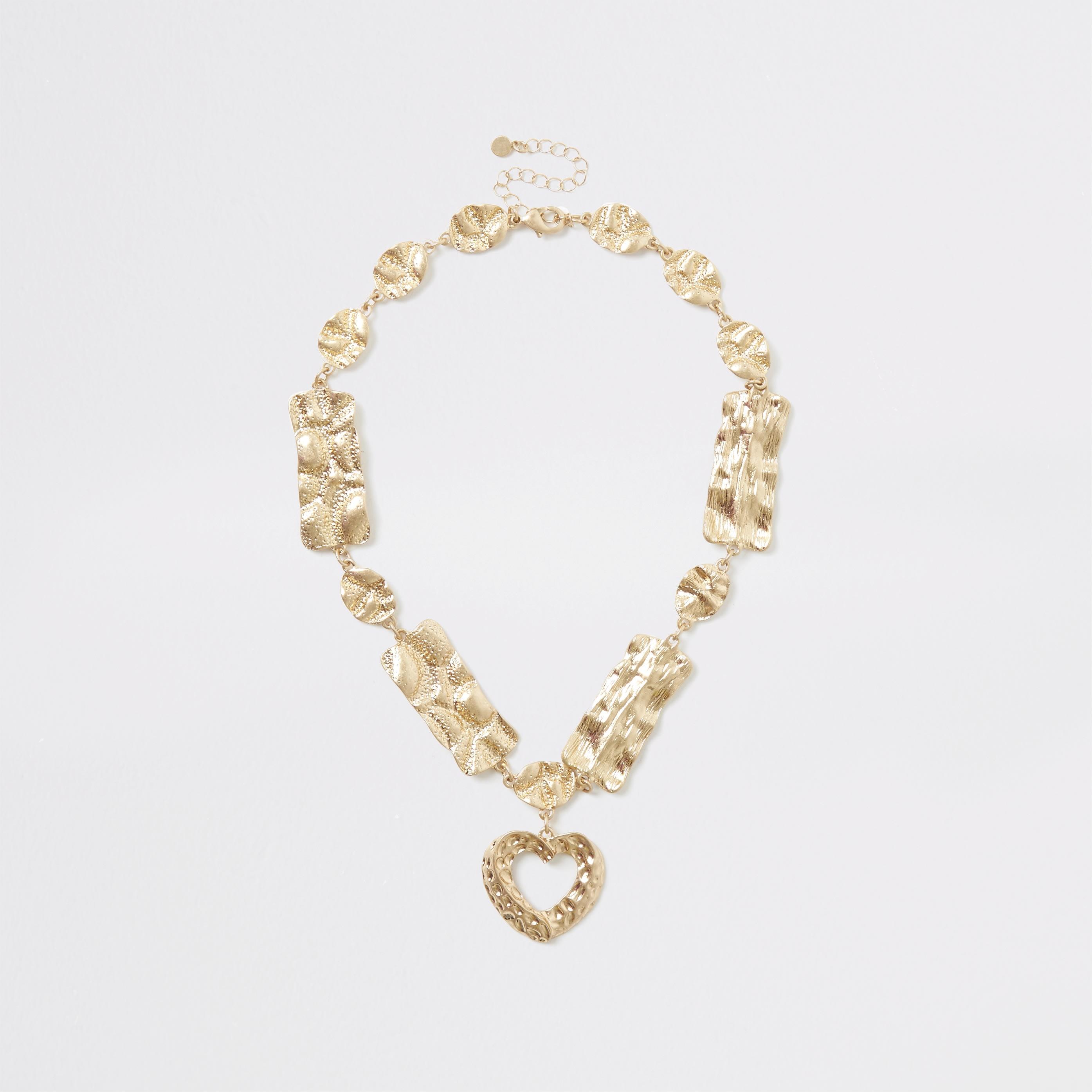 RIVER ISLAND | Womens Gold Colour Heart Pendant Necklace | Goxip