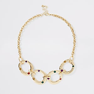 Gold colour interlinked necklace