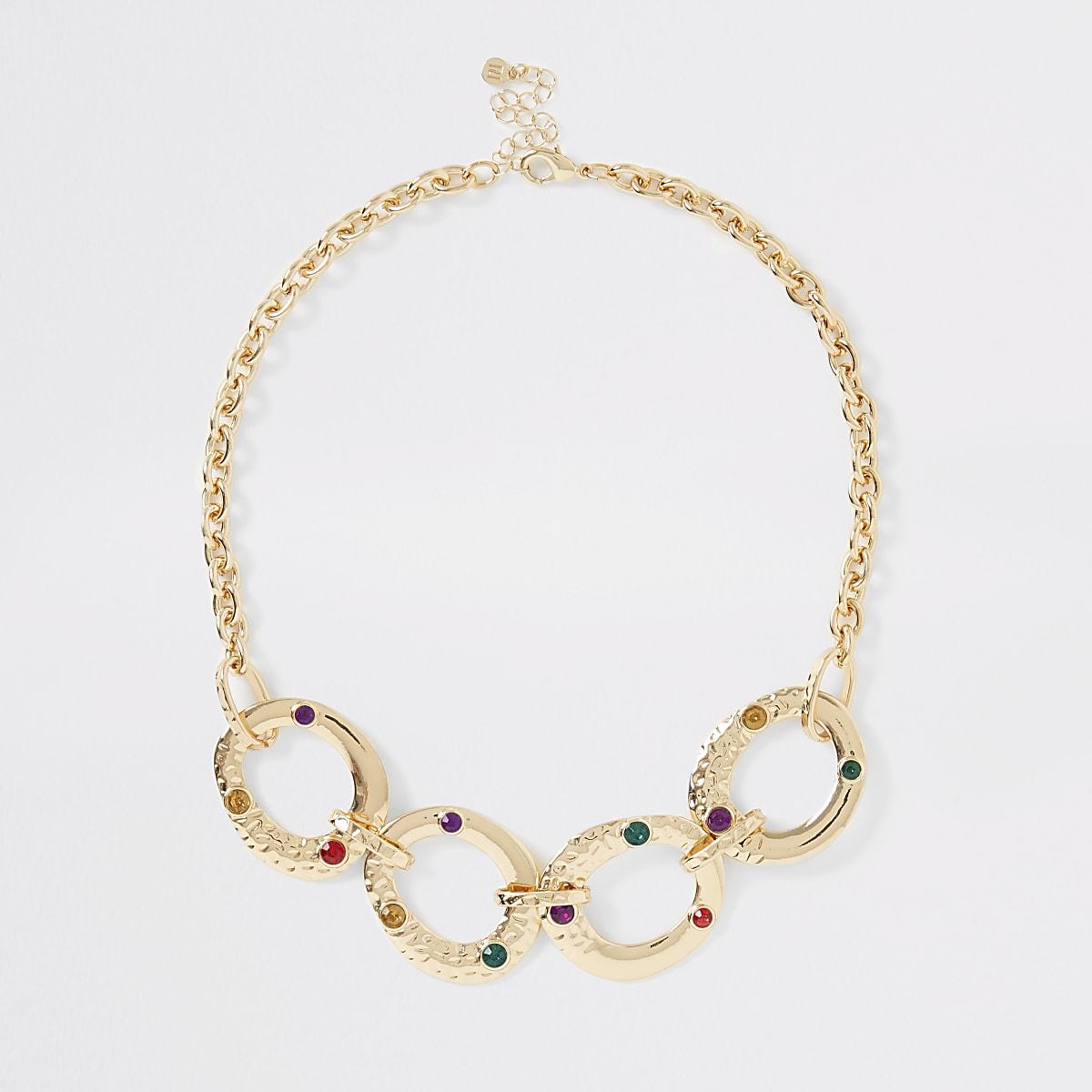 Gold color interlinked necklace