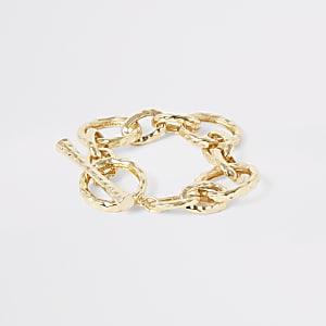 Gold colour battered interlink T-bar bracelet