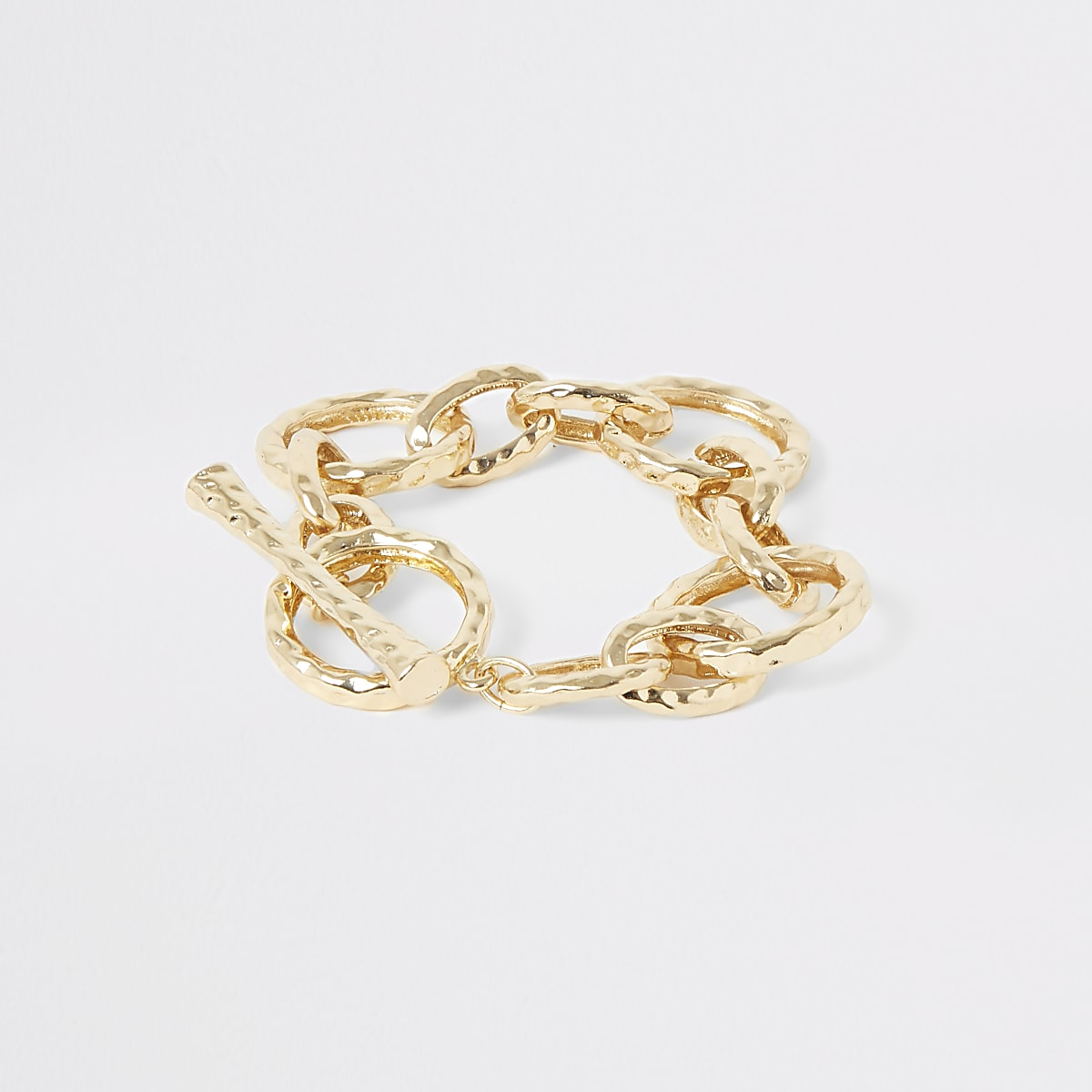 Gold colour battered interlink T-bar bracelet
