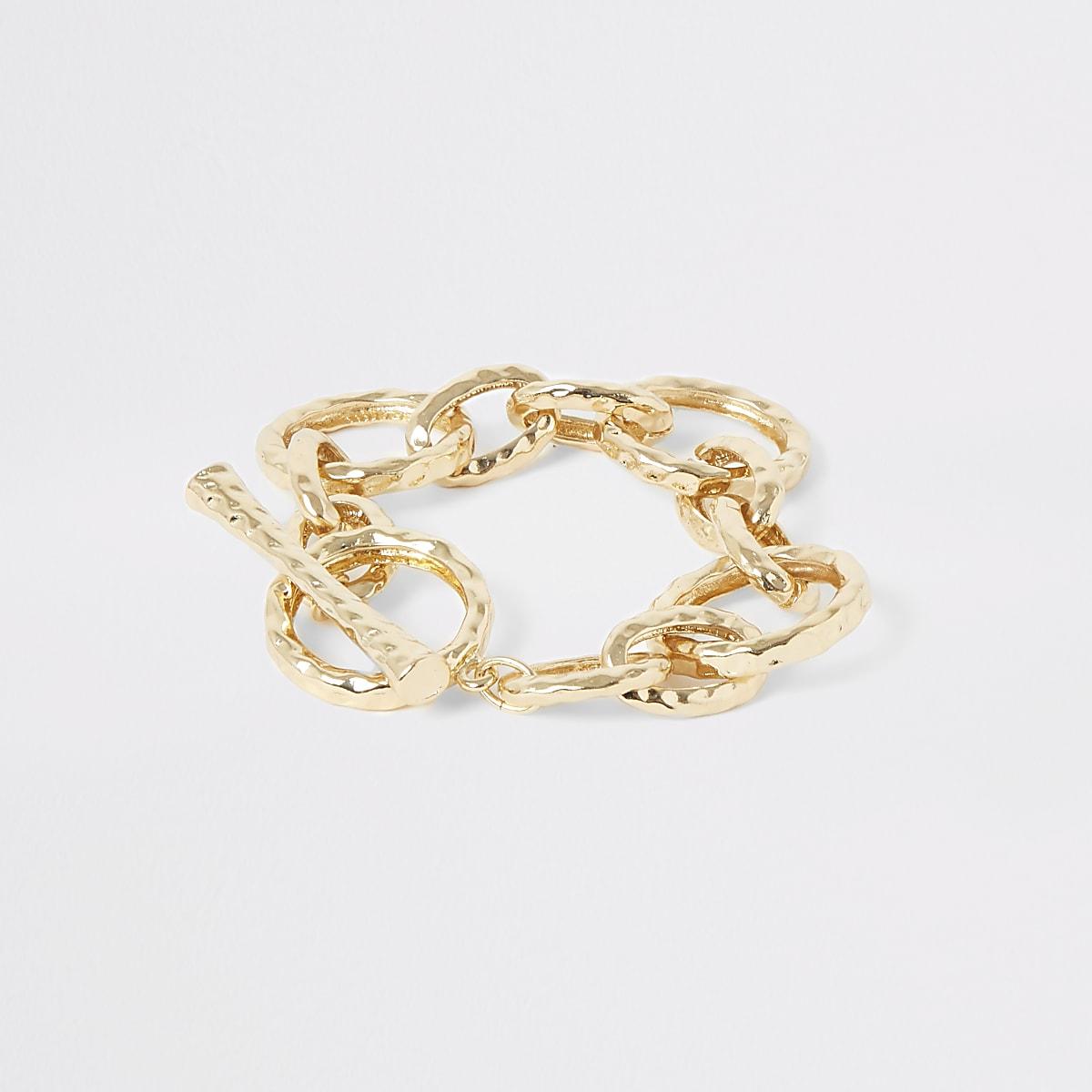 Gold color battered interlink T-bar bracelet