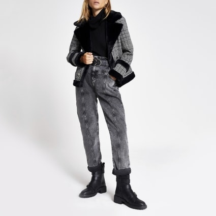 Black dogtooth check faux fur trim jacket