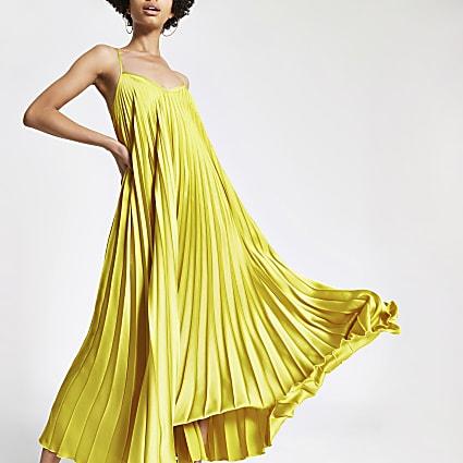 Green pleated satin maxi dress