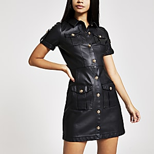 Black faux leather shirt dress