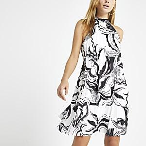 White print halter neck pleated swing dress