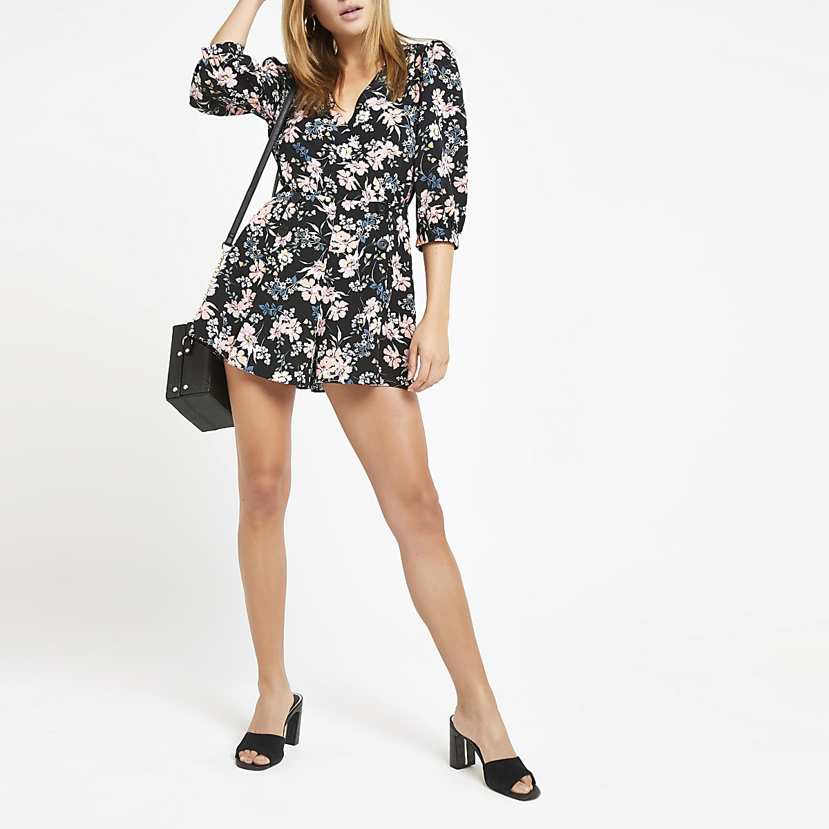 59d047c5ee7 Black floral double breasted playsuit - Playsuits - Playsuits ...
