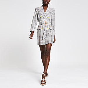 Robe blazer à carreaux grise