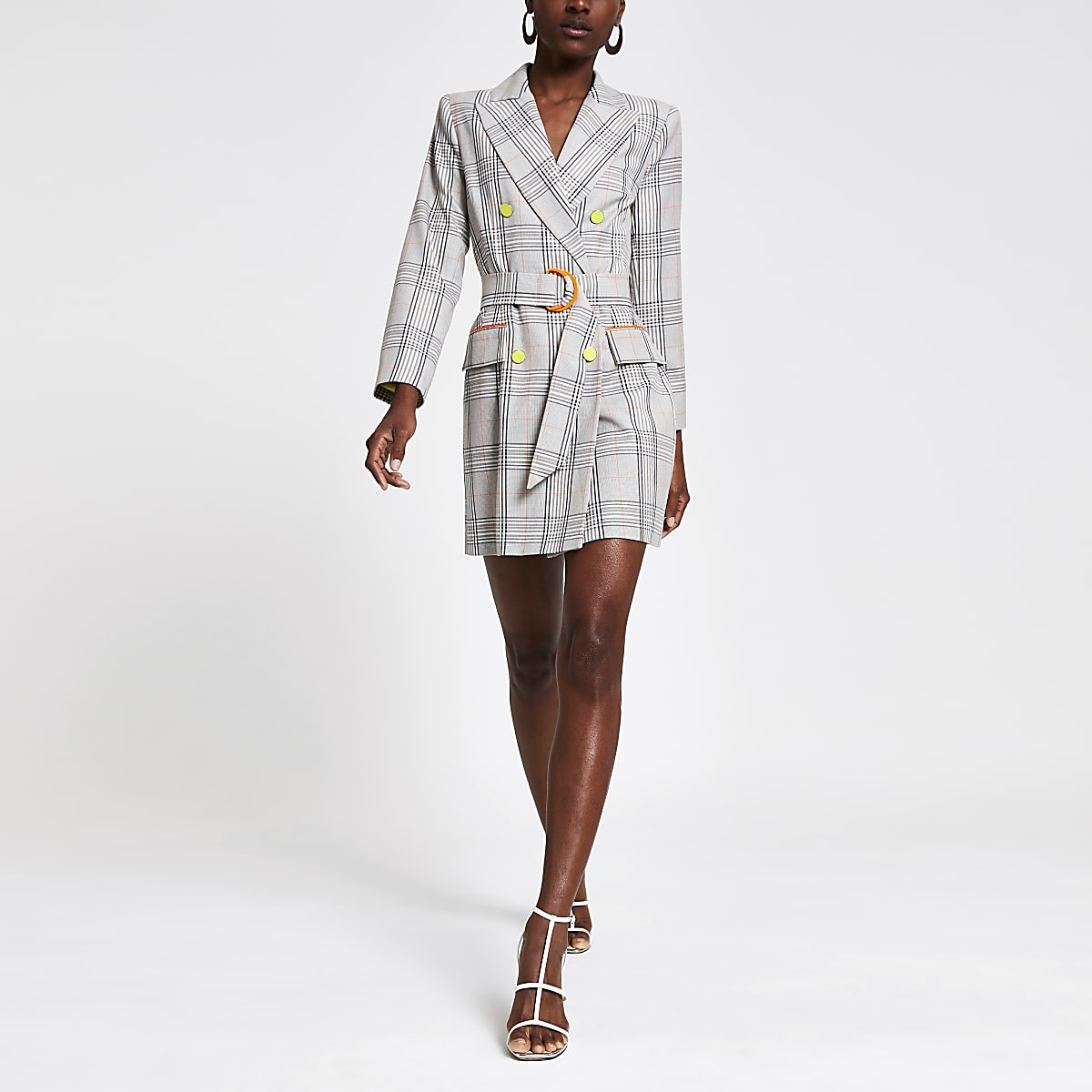 Graues, kariertes Blazer-Kleid