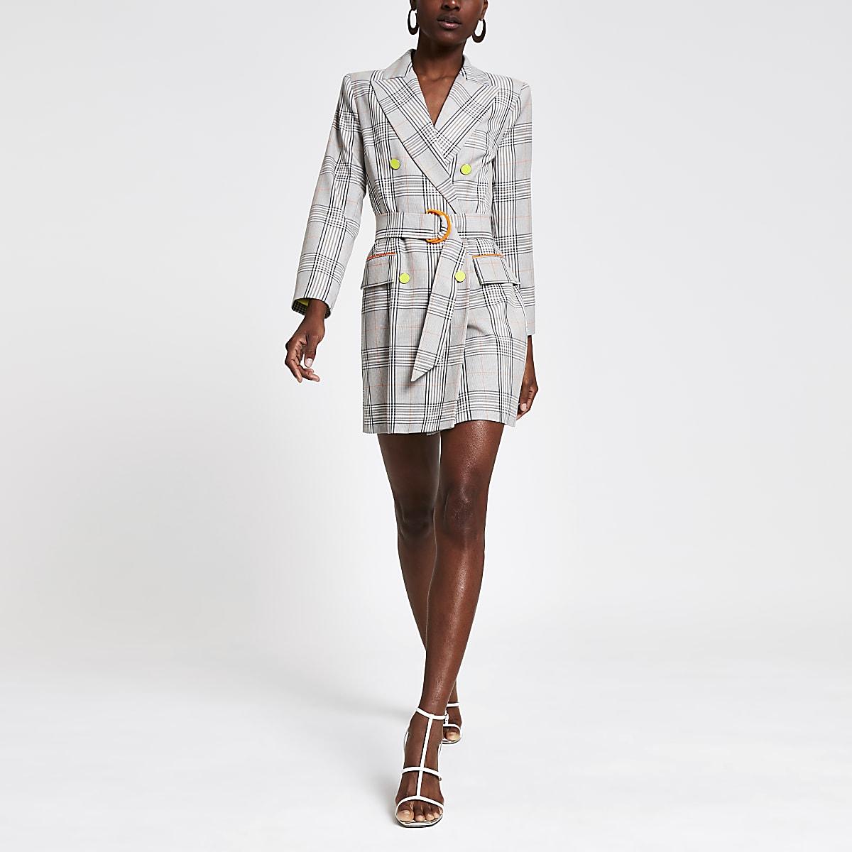 Robe blazer à carreaux grise