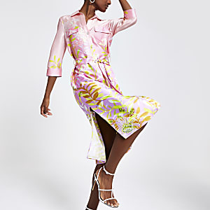Pink floral midi shirt dress
