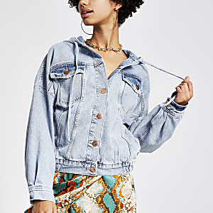 Light blue hooded denim jacket
