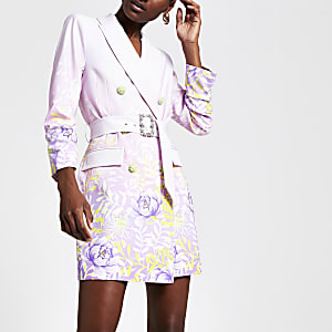 Purple floral blazer dress
