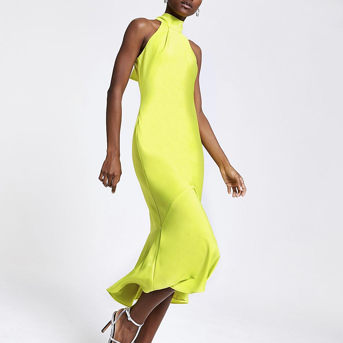 Lime halter neck bodycon dress