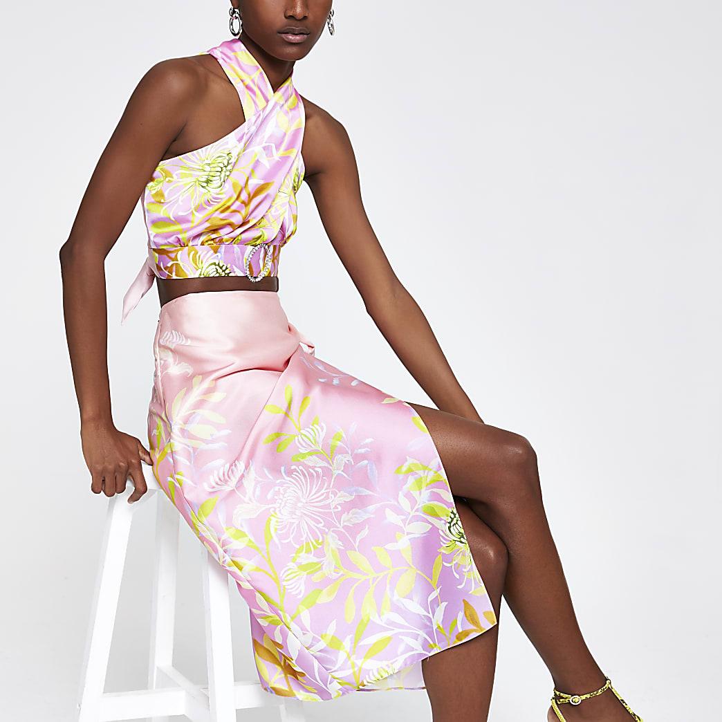 Pink floral wrap skirt