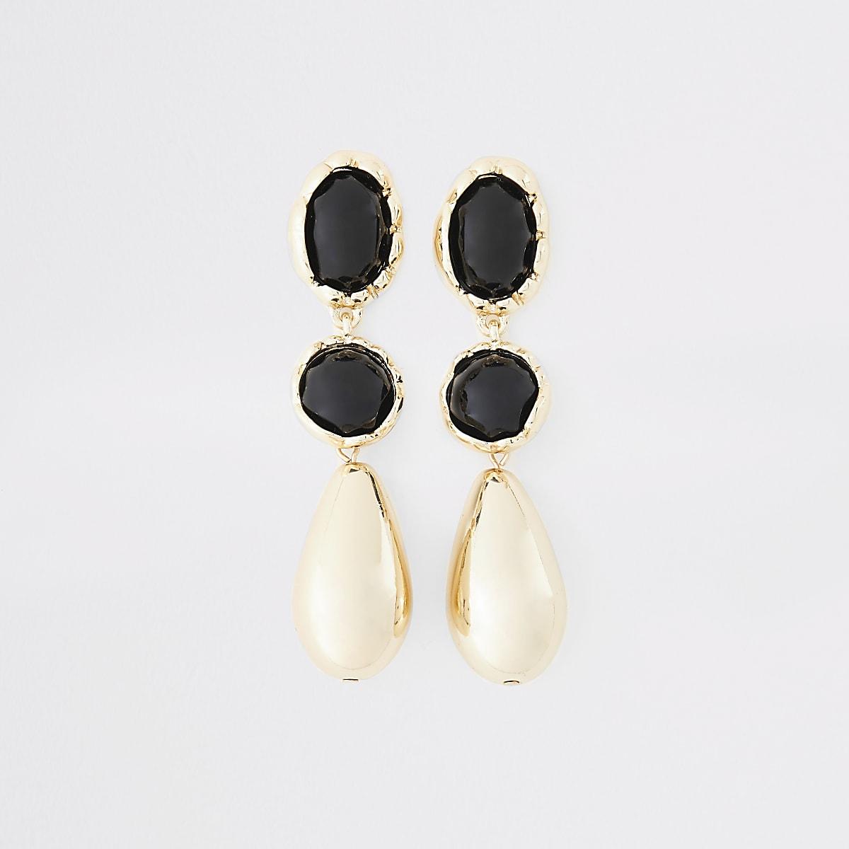 Gold colour tear drop earrings