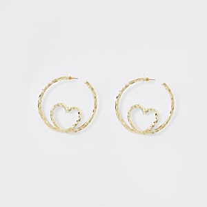 Gold colour heart insert hoop earrings