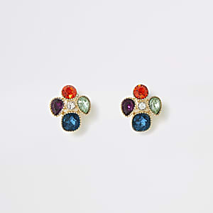 Gold colour gem clustered stud earrings