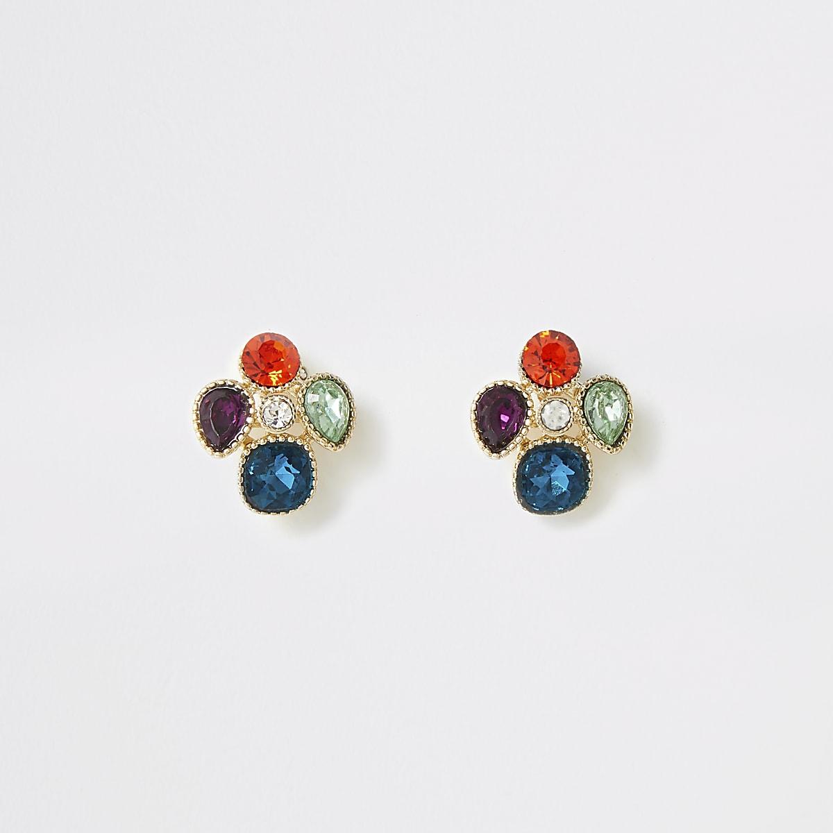 Gold colour gem clustered stud earrings
