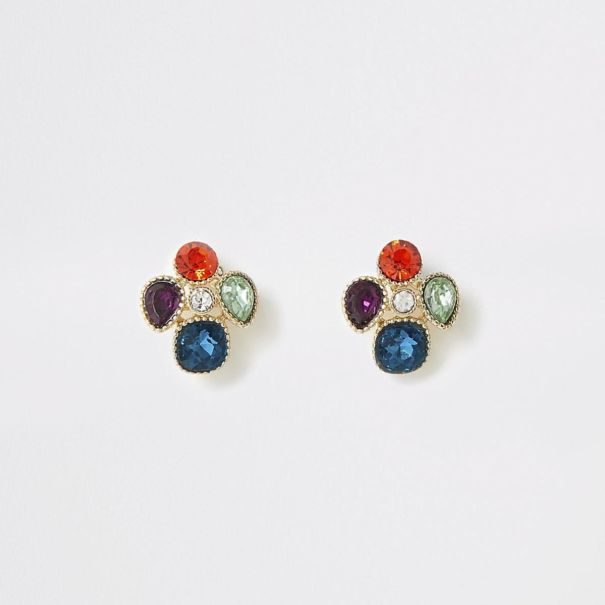 Gold color gem clustered stud earrings