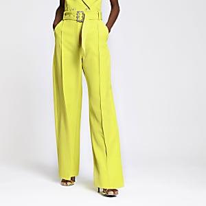 Limettengrüne Hose mit weitem Beinschnitt