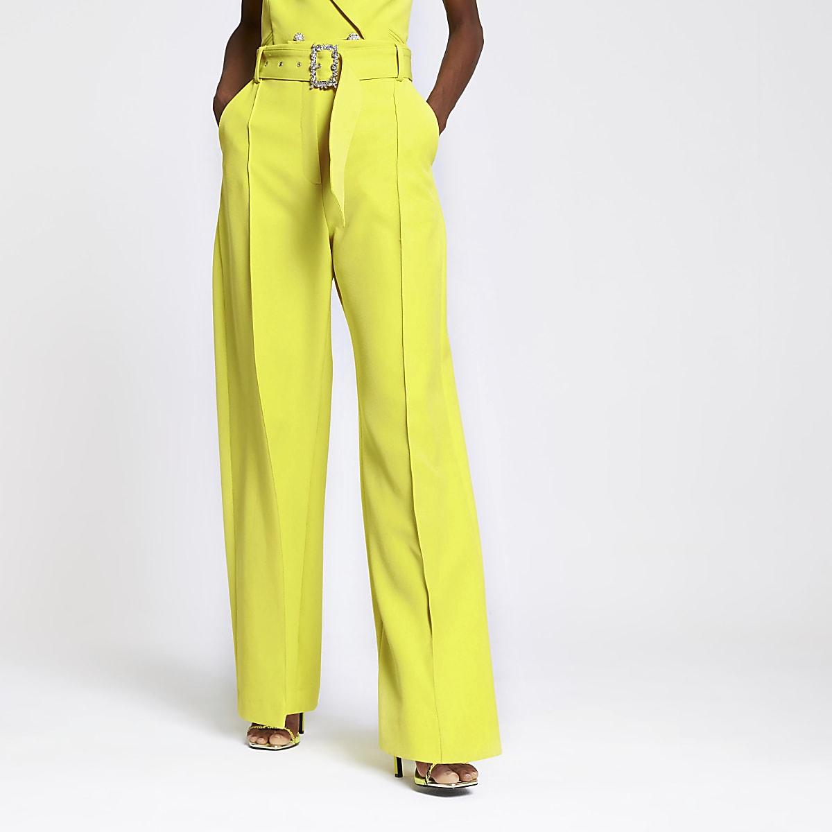 Lime wide leg pants