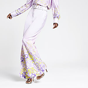 Purple floral wide leg trousers