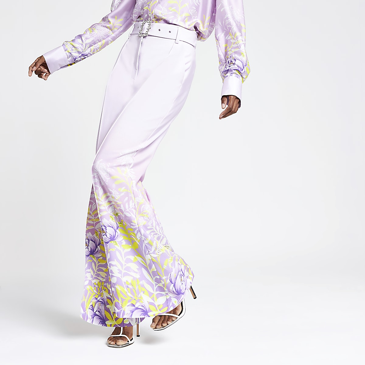 Purple floral wide leg trousers