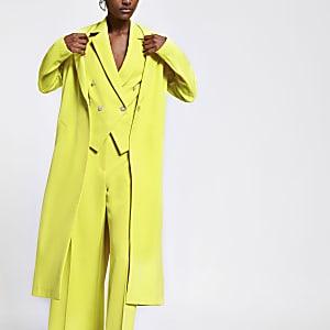 Veste longue vert citron