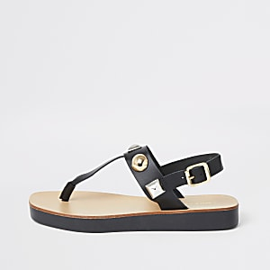 Black leather studded toe thong sandals